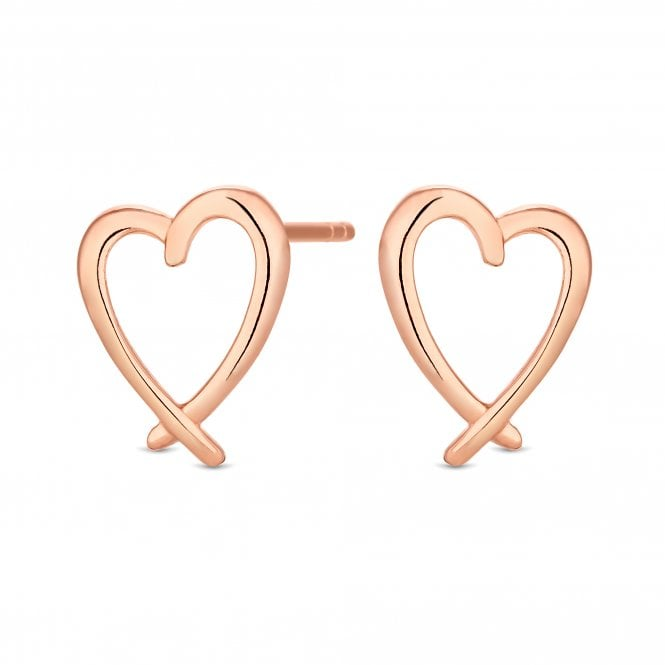 14ct Rose Gold Plated Sterling Silver Crossover Heart Stud Earring