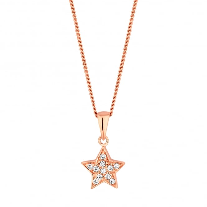 14ct Rose Gold Plated Sterling Silver Cubic Zirconia Pave Star Pendant Necklace