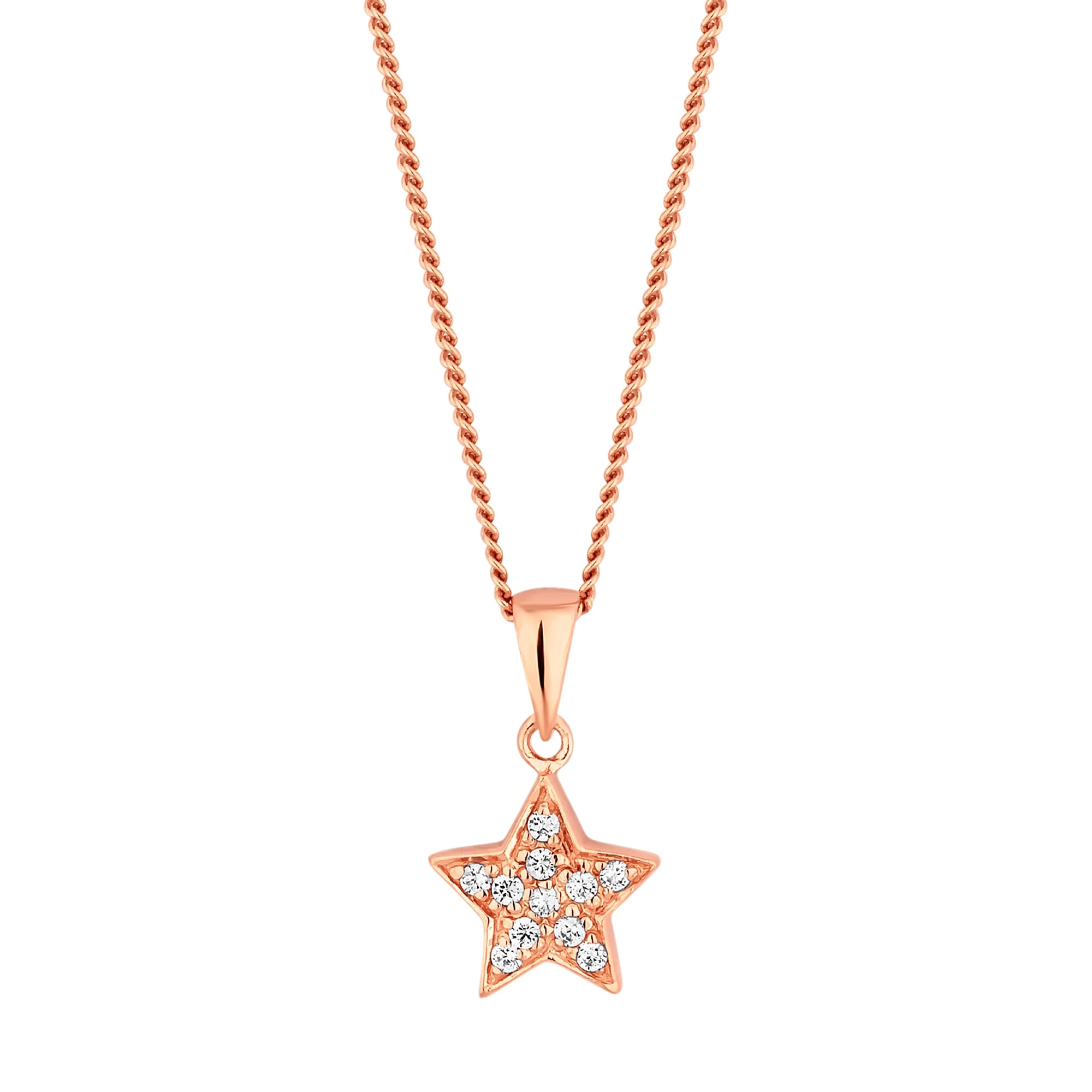 Simply silver 14ct rose gold plated sterling silver cubic zirconia 14ct rose gold plated sterling silver cubic zirconia pave star pendant necklace aloadofball Images