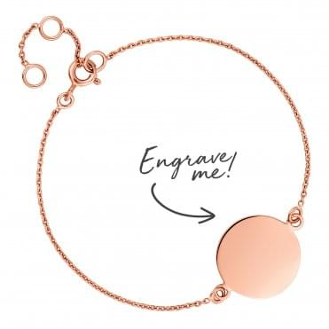 14ct Rose Gold Plated Sterling Silver Disc Bracelet - Personalise By Engraving