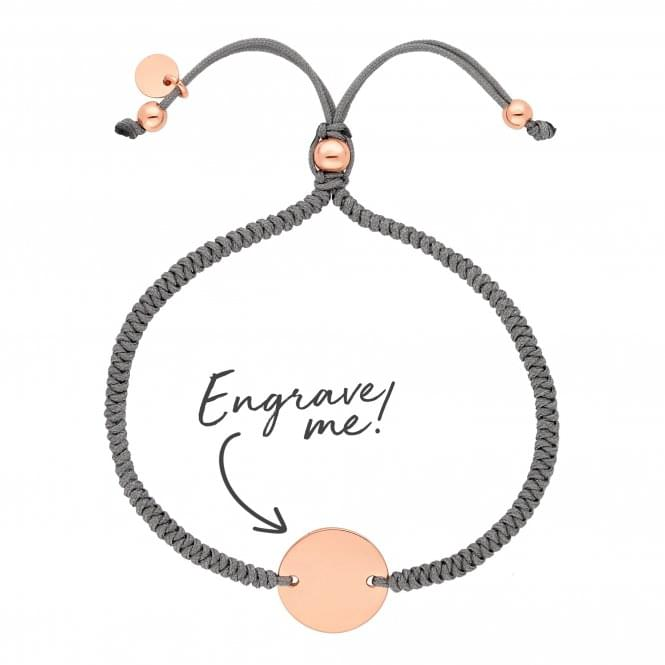 14ct Rose Gold Plated Sterling Silver Disc On A Grey Cord Toggle Bracelet - Personalise By Engraving