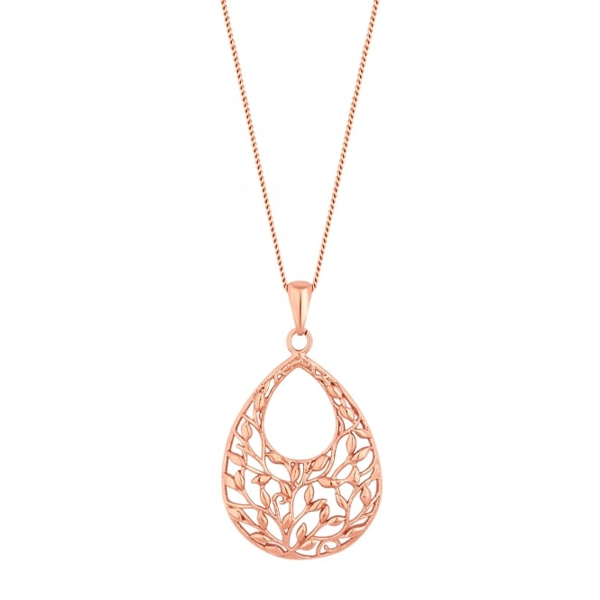 14ct Rose Gold Plated Sterling Silver Floral Filigree Necklace