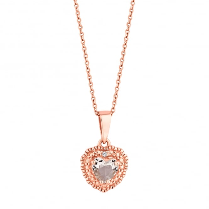 14ct Rose Gold Plated Sterling Silver Heart Cubic Zirconia Pendant Necklace
