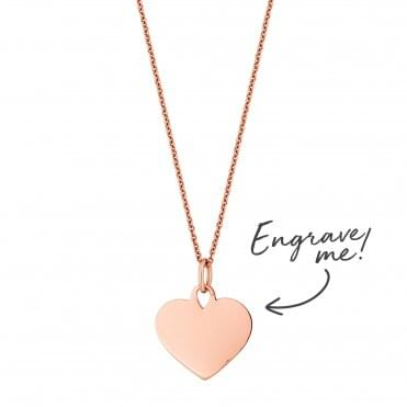 14ct Rose Gold Plated Sterling Silver Heart Necklace - Personalise By Engraving