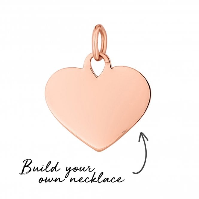 14ct Rose Gold Plated Sterling Silver Heart Pendant - Build Your Own Necklace