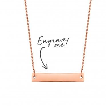 14ct Rose Gold Plated Sterling Silver Horizontal Bar Necklace - Personalise By Engraving