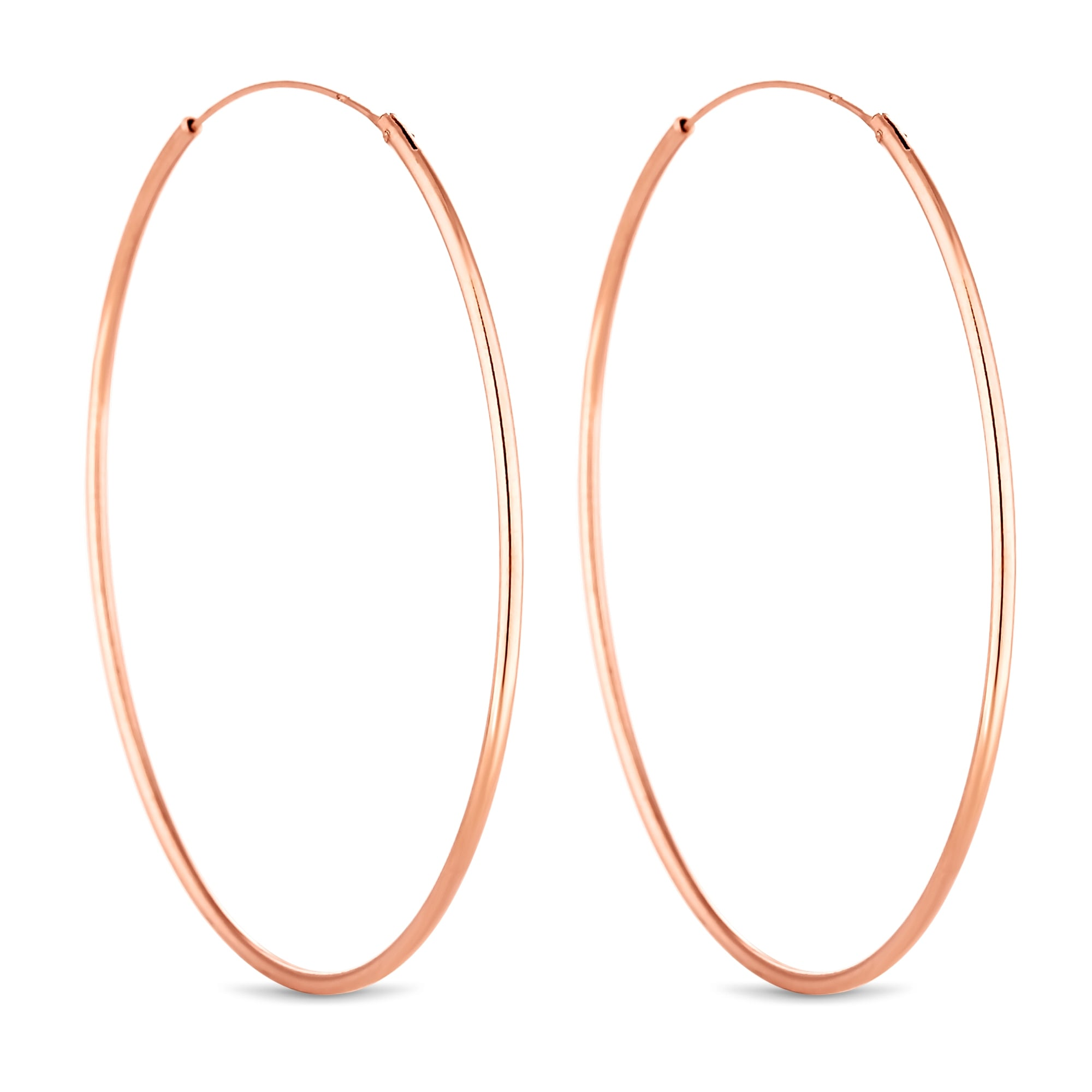 Simply Silver 14ct Rose Gold Plated Sterling Large Hoop Earring