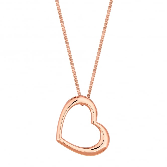 14ct Rose Gold Plated Sterling Silver Open Heart Necklace