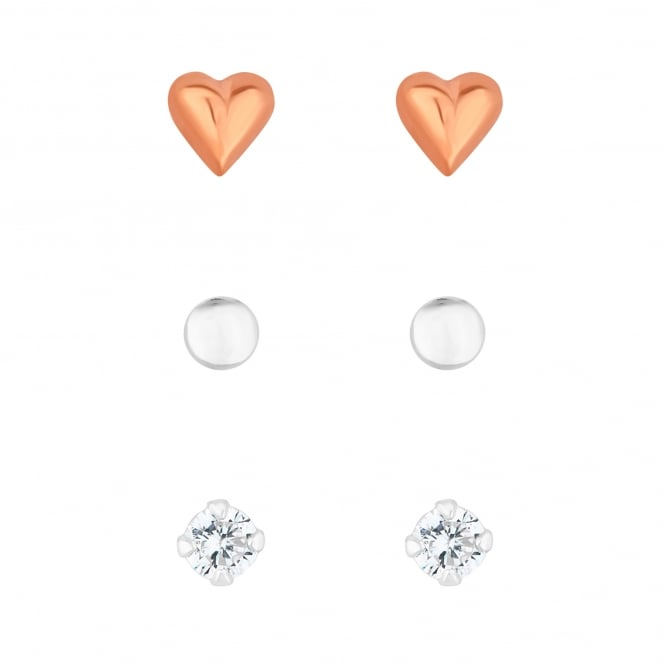 14ct Rose Gold Plated Sterling Silver Pack of 3 Heart Stud Earring Set