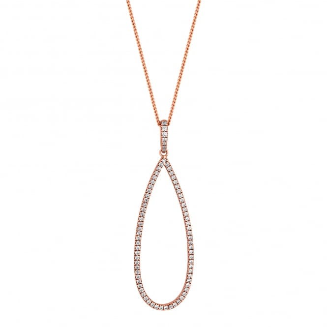 14ct Rose Gold Plated Sterling Silver Pave Teardrop Necklace