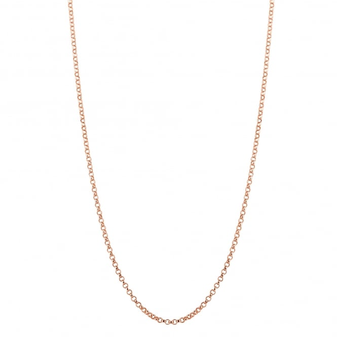 14ct Rose Gold Plated Sterling Silver Rolo Chain Long 36 Inch Necklace