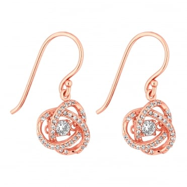14ct Rose Gold Plated Sterling Silver Suspended Dancing Cubic Zirconia Swirl Drop Earring