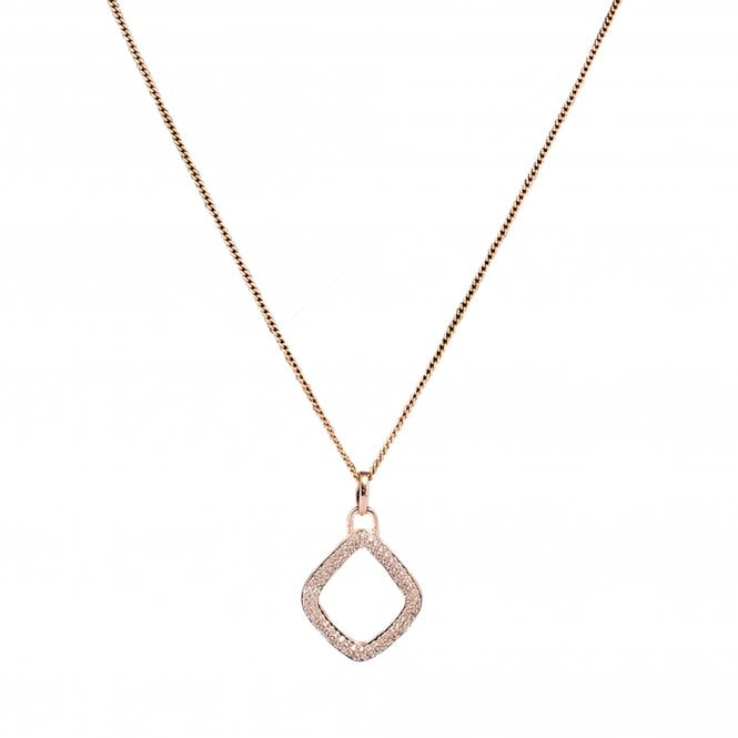 14ct Rose Gold Sterling Silver 925 Diamond Open Necklace