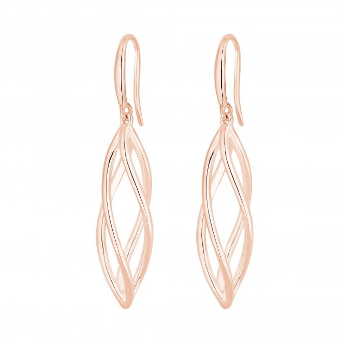14ct Rose Gold Sterling Silver 925 Polished Caged Drop Earrings