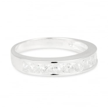 Cubic Zirconia Crystal Encased Sterling Silver Band Ring