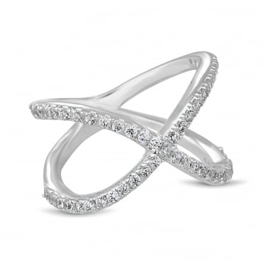 Cubic zirconia embellished crossover ring