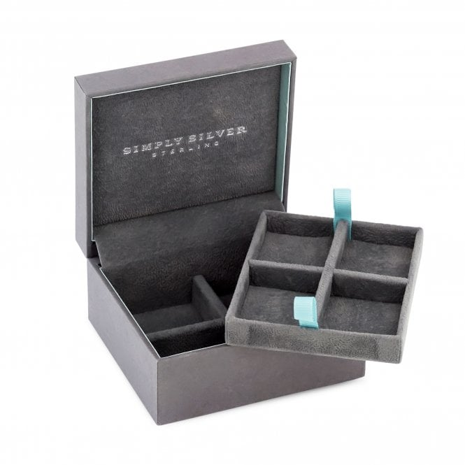 Simply Silver Grey Faux Suede Interior Two Layer Gift Jewellery Box