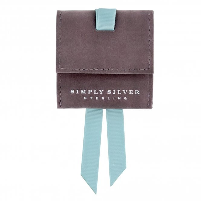Simply Silver Grey Faux Suede Pouch With Blue Ribbon Tie