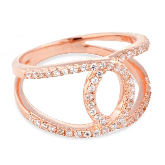 Simply Silver Rose gold plated sterling silver cubic zirconia open link ring