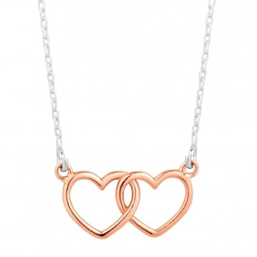 Rose gold plated sterling silver double heart link pendant necklace