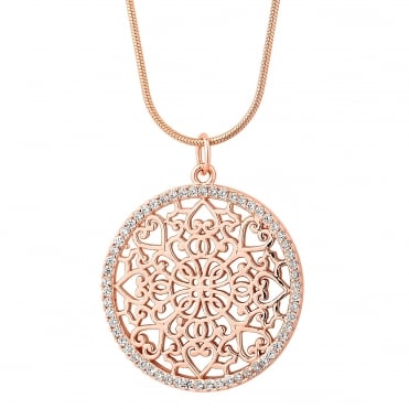 Rose gold plated sterling silver filigree disc necklace