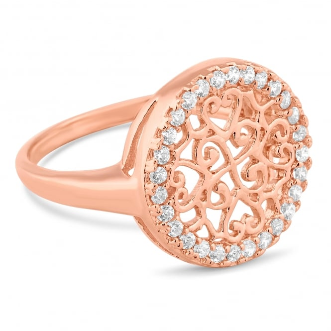 Rose gold plated sterling silver filigree disc ring