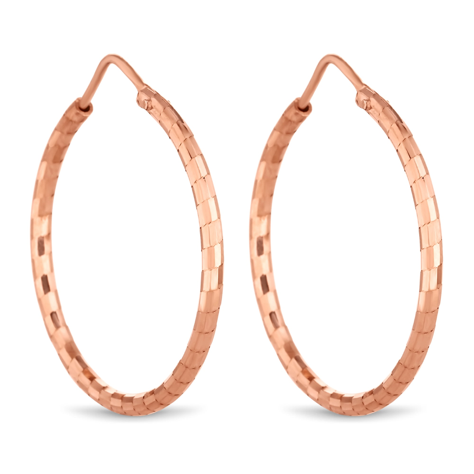 14ct Rose Gold Plated Sterling Silver Hoop Earring
