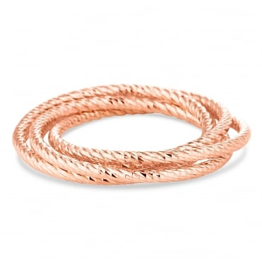 Rose gold plated sterling silver linked rings