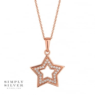 Rose gold plated sterling silver star necklace