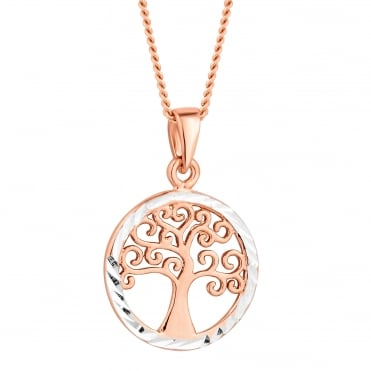 Rose gold plated sterling silver tree of life necklace