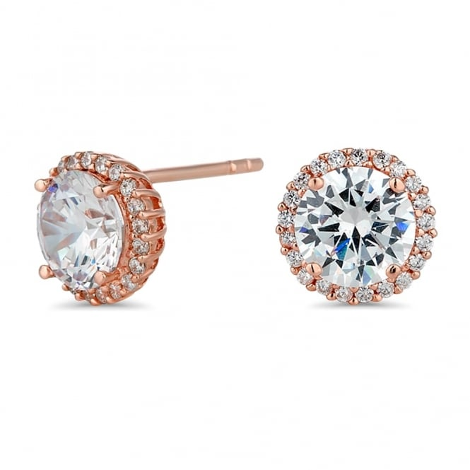 Simply Silver 14ct Rose Gold Plated Sterling Silver Cubic Zirconia Pave Surround Stud Earring