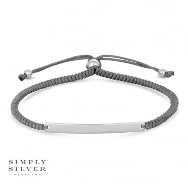 Silver Engravable Bar on a Grey Toggle Bracelet