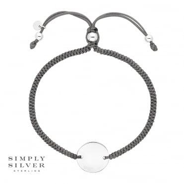 Silver Engravable Disc on a Grey Toggle Bracelet