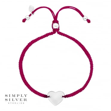 Silver Engravable Heart on a Pink Toggle Bracelet