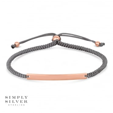 Silver Engravable Rose Gold Plated Bar on a Grey Toggle Bracelet