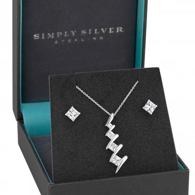 Sterling Cubic Zirconia Square Twist Jewellery Set