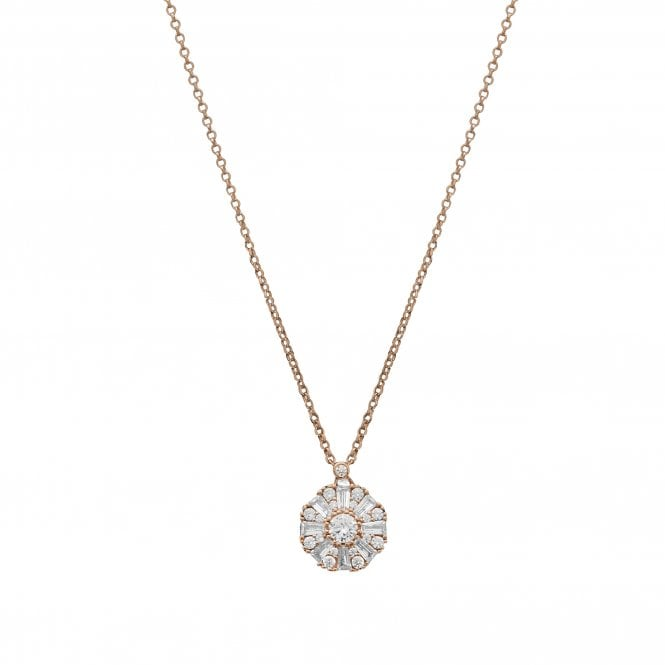 Sterling Silver 14ct Rose Gold Cubic Zirconia Baguette Halo Pendant Necklace