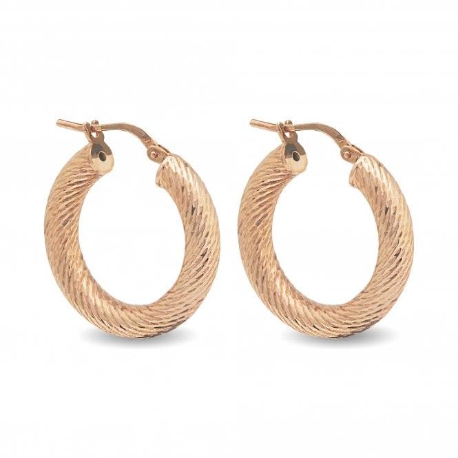 Sterling Silver 925 14ct Rose Gold Chunky Diamond Cut Hoop Earrings