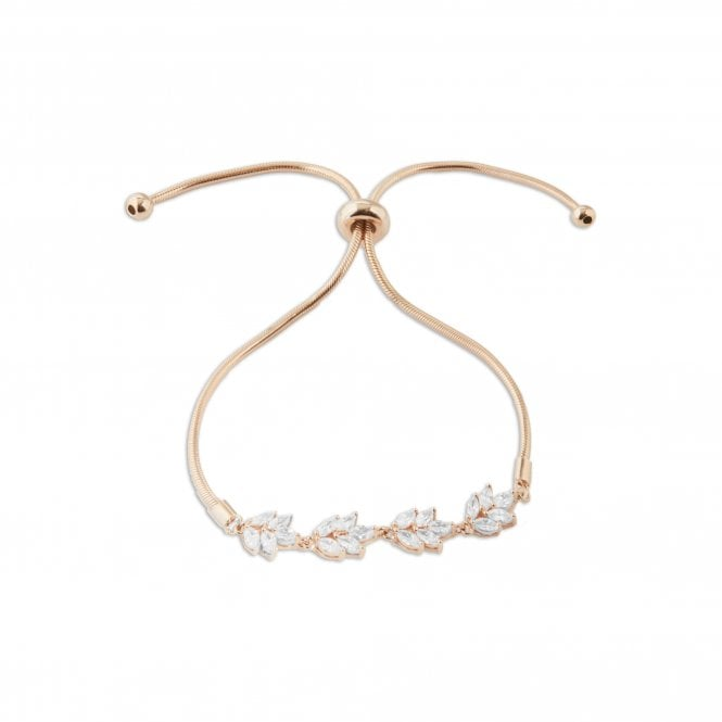 Sterling Silver 925 14ct Rose Gold Cubic Zirconia Leaf Marquise Toggle Bracelet