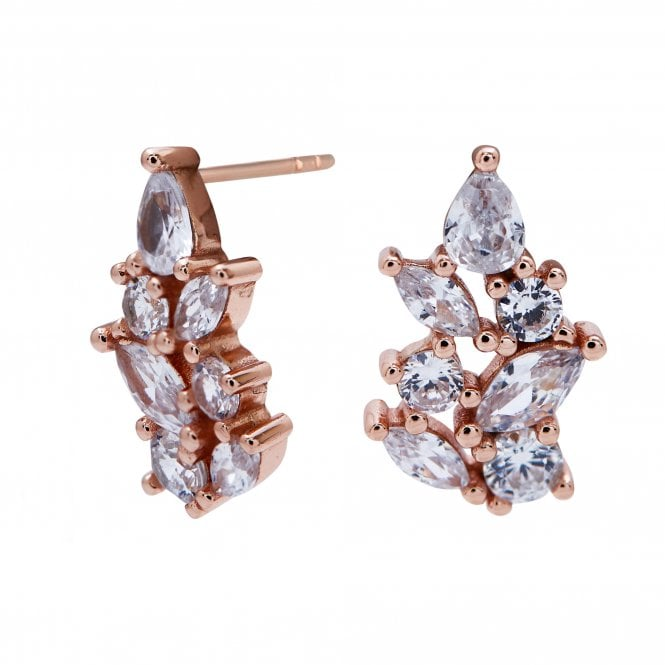 Simply Silver Sterling Silver 925 14Ct Rose Gold Earrings