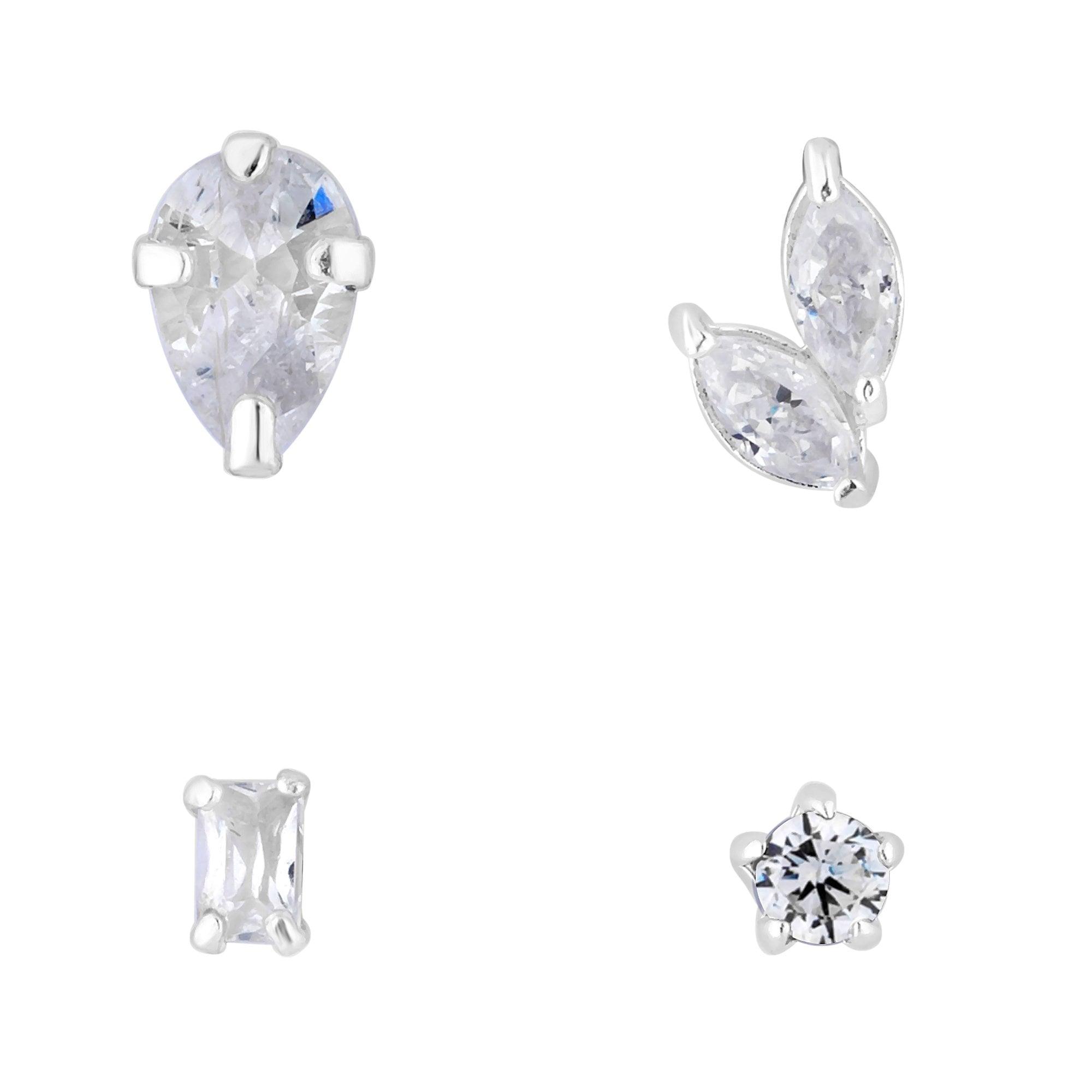 5ba4e00b8 Simply Silver Sterling Silver 925 4 Pack Mismatch Earring Multi Cubic  Zirconia