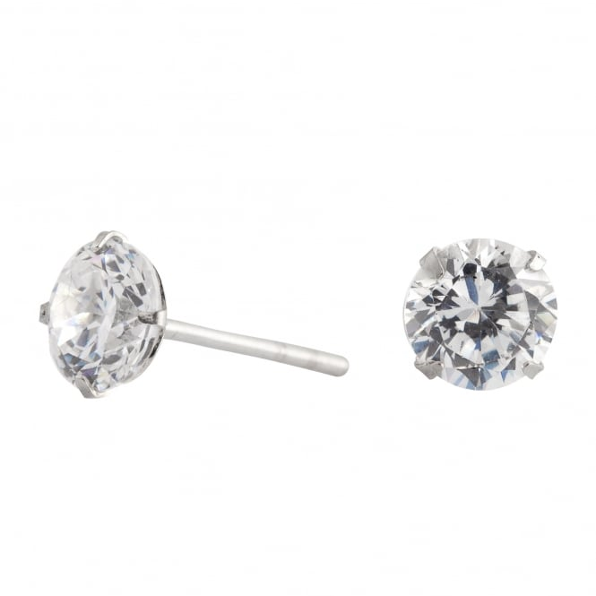 Sterling Silver 925 6mm Round Cubic Zirconia Stud Earring