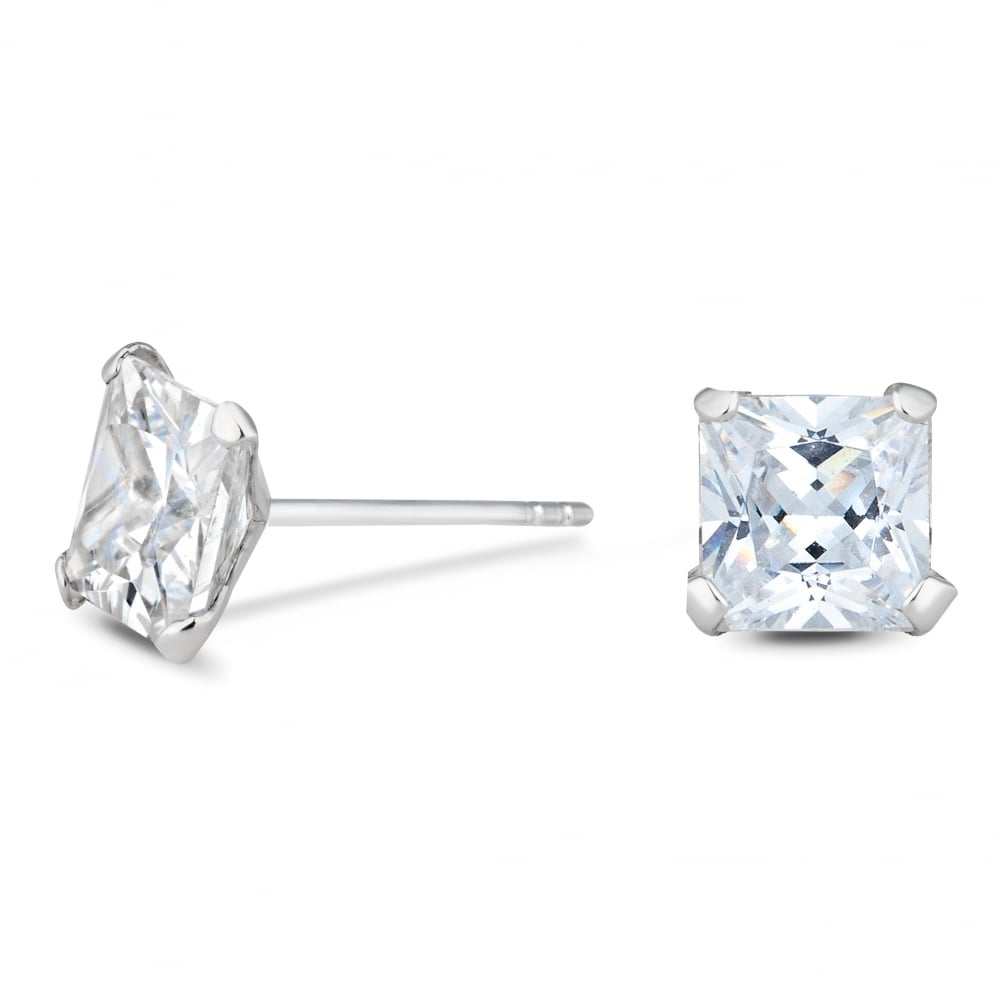 7mm Square Cubic Zirconia CZ Sterling Silver Post Stud Earrings