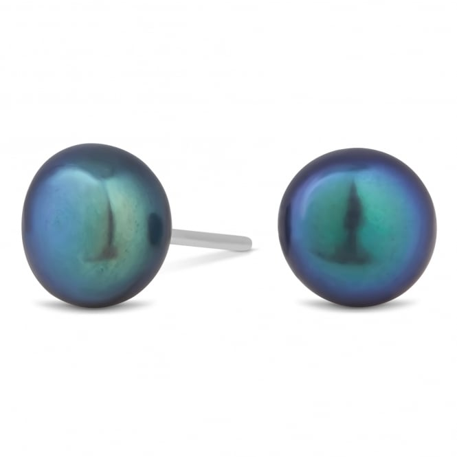 Sterling Silver 925 8mm Iridescent Freshwater Pearl Stud Earring