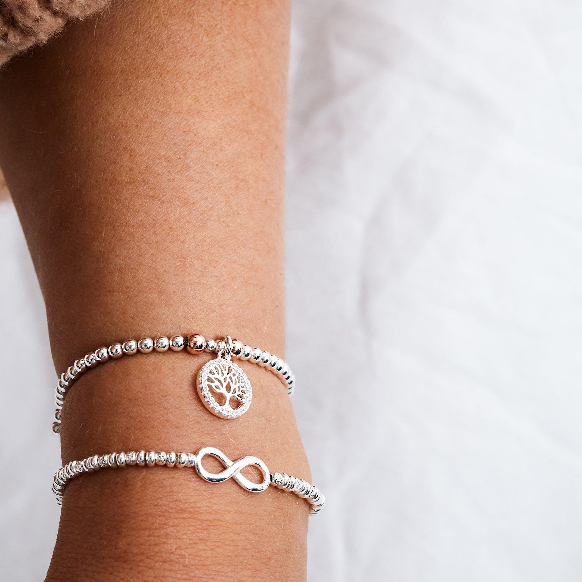 Simply Silver Sterling Silver 925 Beaded Tree Of Life Charm Stretch Bracelet Jewellery From Jon Richard Uk