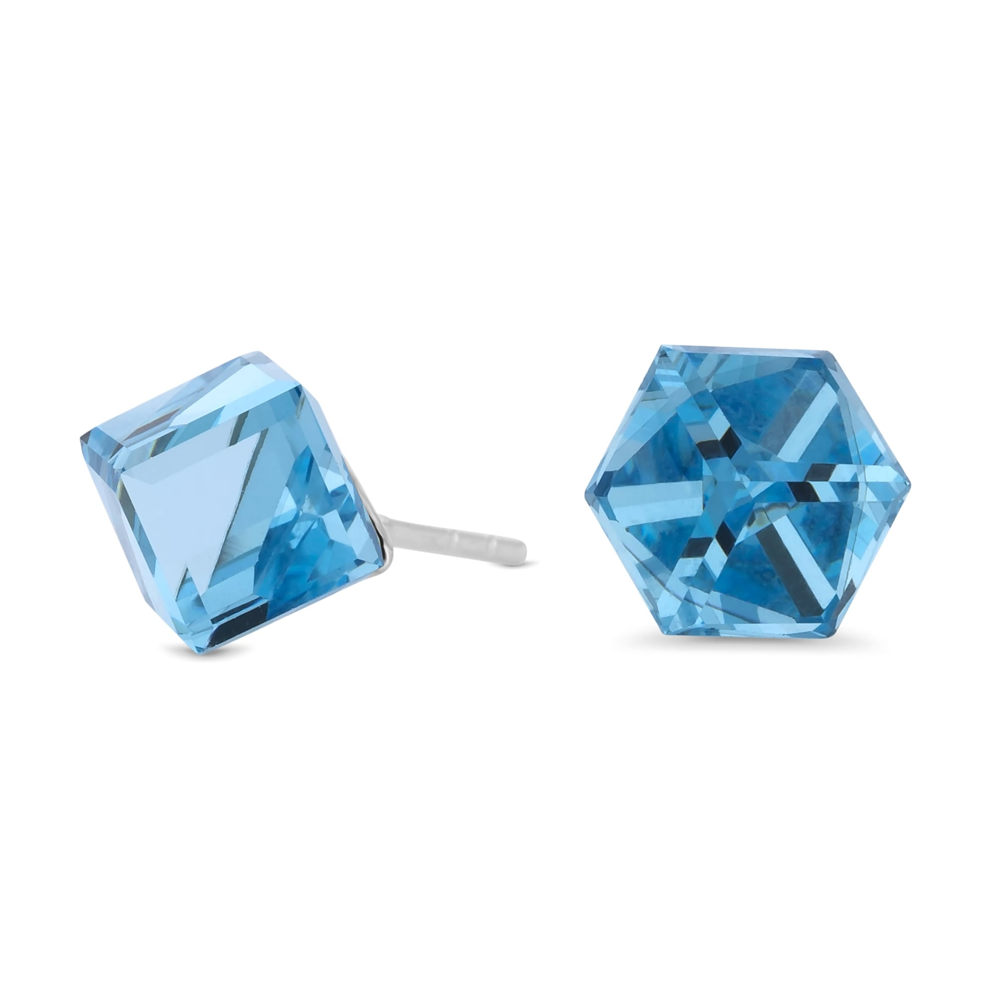 Sterling Silver 925 Blue Cube Stud Earring Embellished With Swarovski Crystals