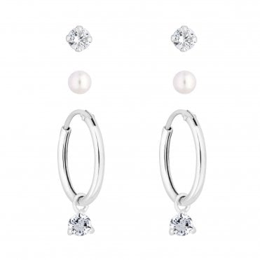 1681e894c Sterling Silver 925 Clear Cubic Zirconia 3 Pack Hoop Earring