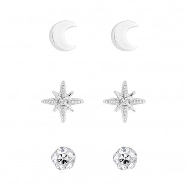 d3e6e749e Sterling Silver 925 Clear Cubic Zirconia 3 Pack Star Stud Earring
