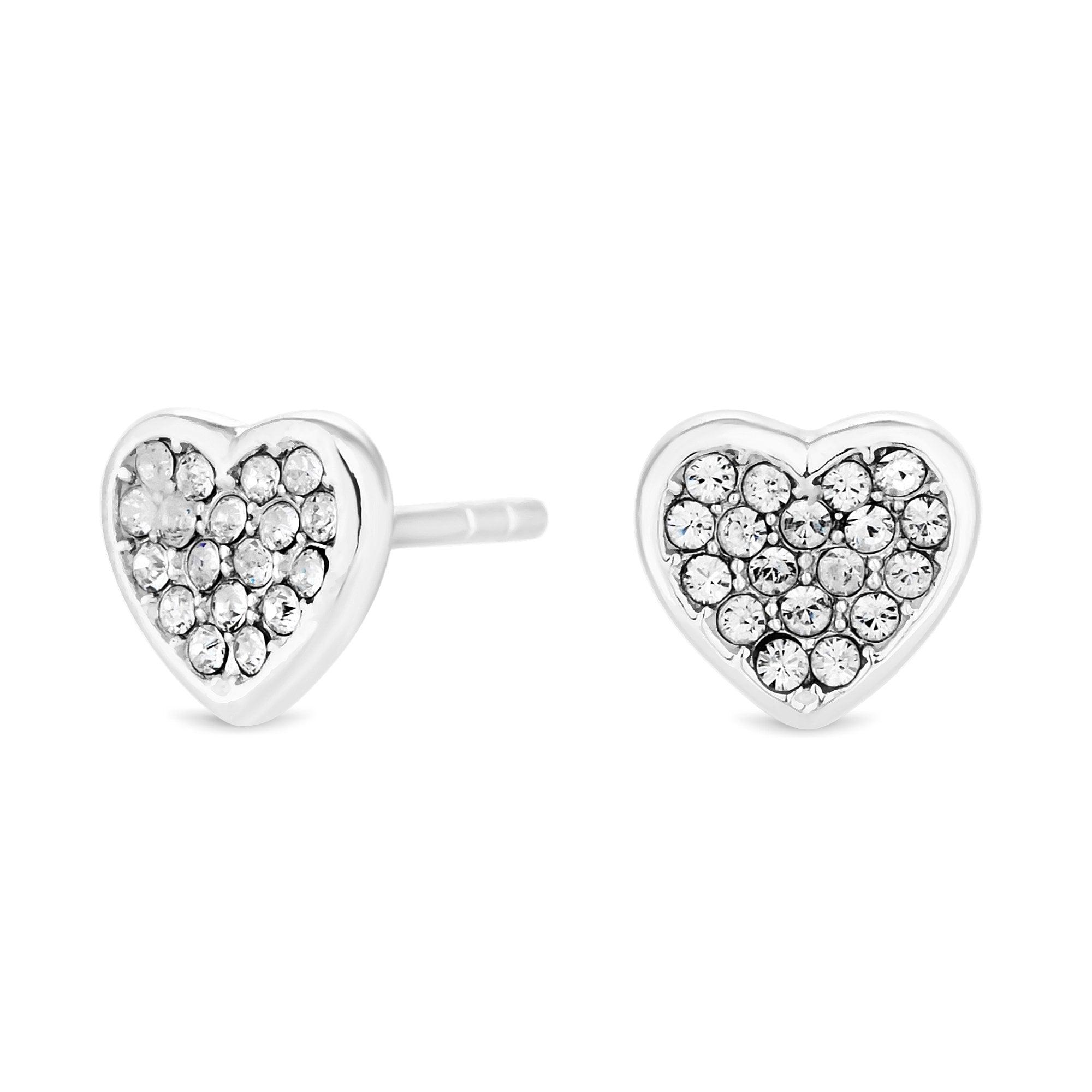 Simply Silver Sterling Silver 925 Clear Swarovski Heart Stud Earring ... c09a7d2040