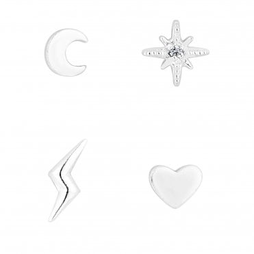 d30e78e87 Sterling Silver 925 Cubic Zirconia 4 Pack Mismatch Shape Stud Earring